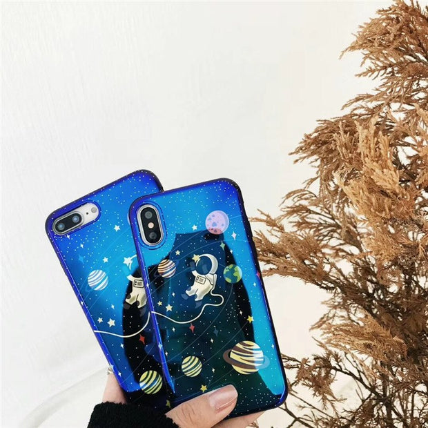 JiBan For IPhone X Fashion Cartoon Blue Ray Starry Sky Astronaut Soft Silicone Back Cover Phone Case For Iphone 6 6s 7 8 Plus