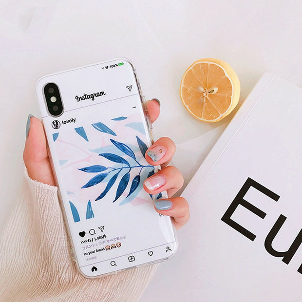 JiBan For Iphone X 6s 7 8 Plus Fashion Illustration Green Leaves Plants Phone Cases Instagram Style TPU Soft Back Cover Shell