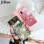 JiBan For Iphone X 6s 7 8 Plus Luxury Bling Glitter Jewelled Floral Cases Fashion Cute Lovely Heart Back Phone Cover Shell Capa