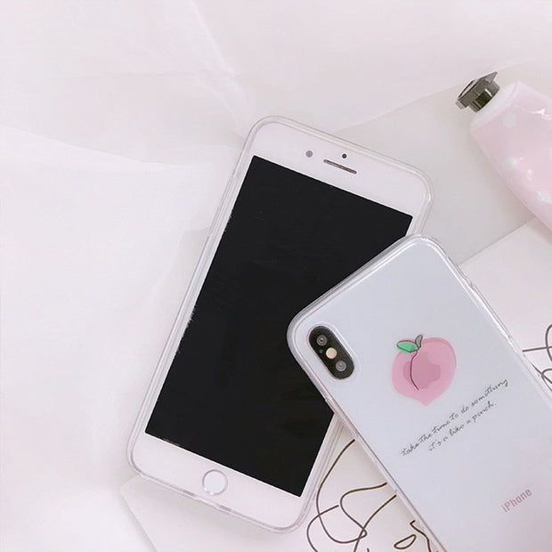 JiBan For Iphone X Cartoon Fruit Slim Clear Soft TPU Back Cover Cute Lovely Pink Juicy Peach Phone Cases For Iphone 6s 7 8 Plus