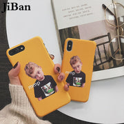 JiBan For Iphone X Case Fashion Funny Cartoon Character Expression Phone Case For Iphone 6S 6 7 8 Plus Cover Hard PC Cover Cases