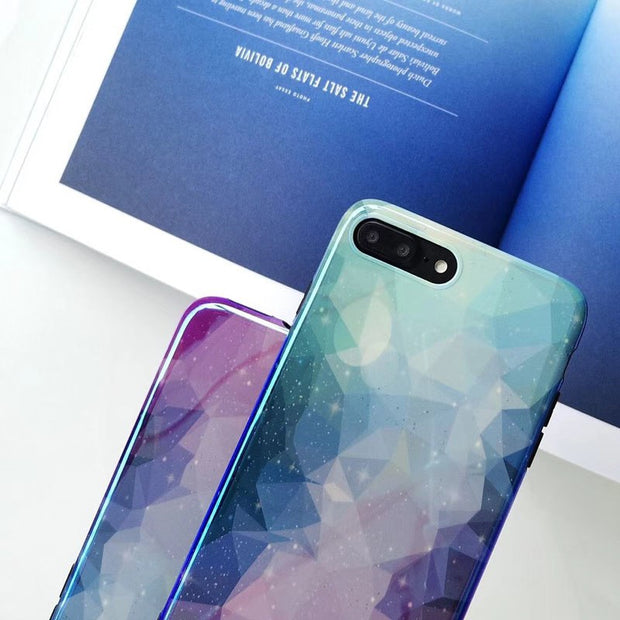 JiBan For Iphone X Colorful Gradient Phone Case For Iphone 6S 6 7 8 Plus Fashion Cartoon Geometric Cover Starry Sky Cases Shell
