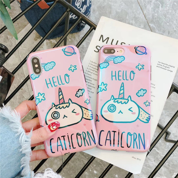 JiBan For Iphone X Cute Cartoon Animal Unicorn Case Fashion Luxury Blue Ray Soft Silicone Back Phone Covers For Apple 6s 7 8Plus