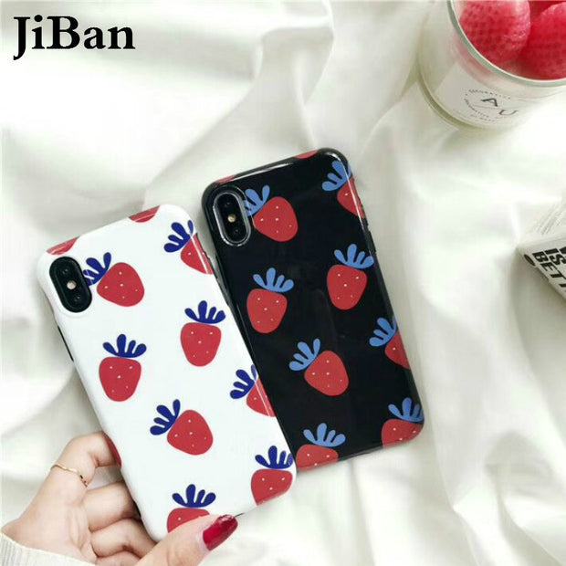 JiBan For Iphone X Cute Cartoon Lovely Fruit Strawberry Case Fashion Mirror IMD TPU Soft Phone Cover Shell For Apple 6s 7 8 Plus