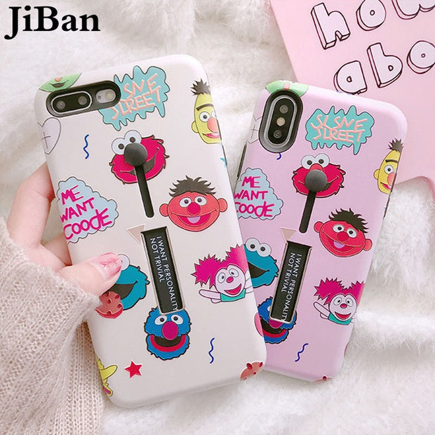 JiBan For Iphone X Cute Cartoon Sesame Street Phone Case Lovely Holder Protectors Funny Eye Back Cover For Iphone 6S 7 8 Plus