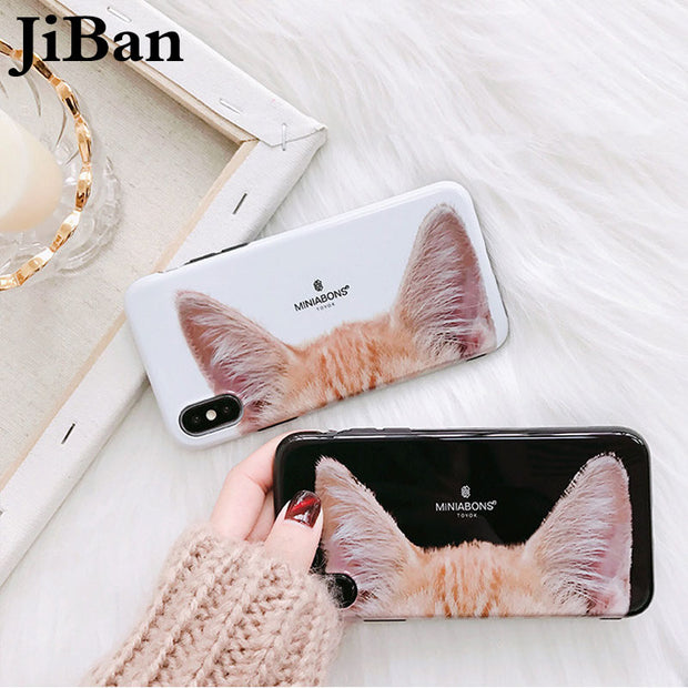 JiBan For Iphone X Cute Funny Cartoon Cat Ear Case Fashion Love Animal IMD TPU Soft Back Phone Cover Case For Iphone 6s 7 8 Plus