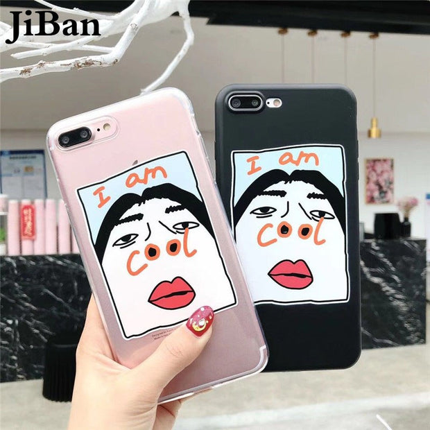 JiBan For Iphone X Fashion Soft TPU Phone Case For Iphone 7 6 6S 8 Plus Funny I AM COOL Back Cover Lovely Cartoon Couples Shell