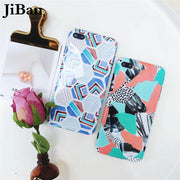 JiBan For Iphone X Geometric Splice Painted Back Phone Case For Iphone 6S 6 7 8 Plus Cases Colorful Abstract Cover Smooth Capa