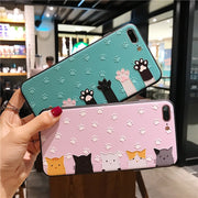 JiBan Lovely 3D Cartoon Animal Cat Phone Case For Iphone X Case TPU Soft Back Cover Cute Candy Color Case For Iphone 6s 7 8 Plus