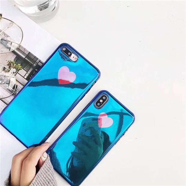 JiBan Luxury Cute Red Love Heart Painted Phone Case For Iphone X 8 7 6s Plus Case Soft IMD Blu-Ray Back Cover Lovers Case Couque