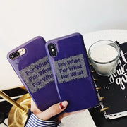 JiBan Luxury English Letter For What Cases Fashion Cool Purple IMD TPU Silicon Back Phone Cover Shell For Iphone X 6s 7 8 Plus