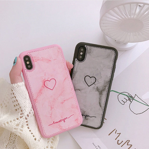 JiBan Luxury PU Leather Case For Iphone X 6 6s 7 8 Plus Vintage Marble Cute Pink Girl Cartoon Love Heart Back Phone Cover Shell