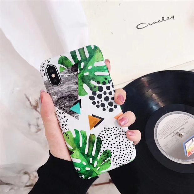 JiBan Summer Green Leaf IMD TPU Soft Phone Shell Fashion Vintage Leaves Back Cover Geometric Cases For Iphone X 6S 6 7 8 Plus