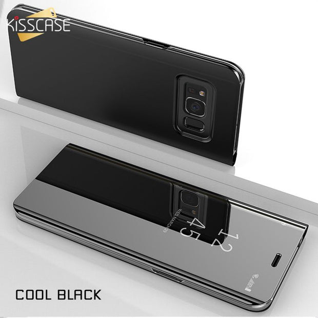KISSCASE Case For Samsung Galaxy S7 S6 Edge S7 S6 Luxury Fipped Case Mirror-Size Stander Case For Note 9 8 5 Capinhas Coque Bag