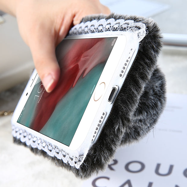 KISSCASE Lovely Furry Phone Case For IPhone X 8 7 Soft TPU Rabbit Case For IPhone XS Max XR 5 5s SE 6 6S Plus 7 7Plus 8 Plus Cov
