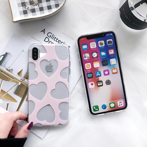 KOMY Cute Pink Love Heart Phone Case For Iphone X Fashion Lattice Transparent TPU Soft Back Cover Shell For Iphone 6s 7 8 Plus