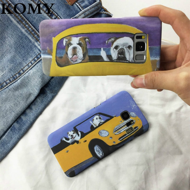 KOMY Fashion France Bulldog Phone Shell For Samsung Galaxy S8 S9 Plus Funny Cartoon Car Hard PC Cover Cases For Galaxy S7 Edge