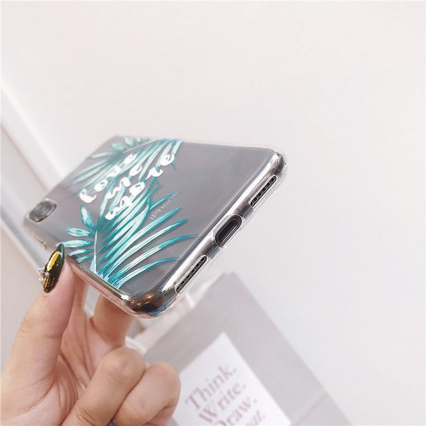 KOMY Fashion Green Leaf Phone Case For Iphone X 6S 7 8 Plus Cases Clear Ultra Slim Soft TPU Cover Summer Cool Leaves Shell Capa