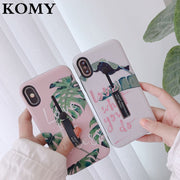 KOMY Luxury Letter Stretch Ring Stand Phone Case For Iphone X Case Back Cover Retro Fashion Leaves Cases For Iphone 6S 7 8 Plus
