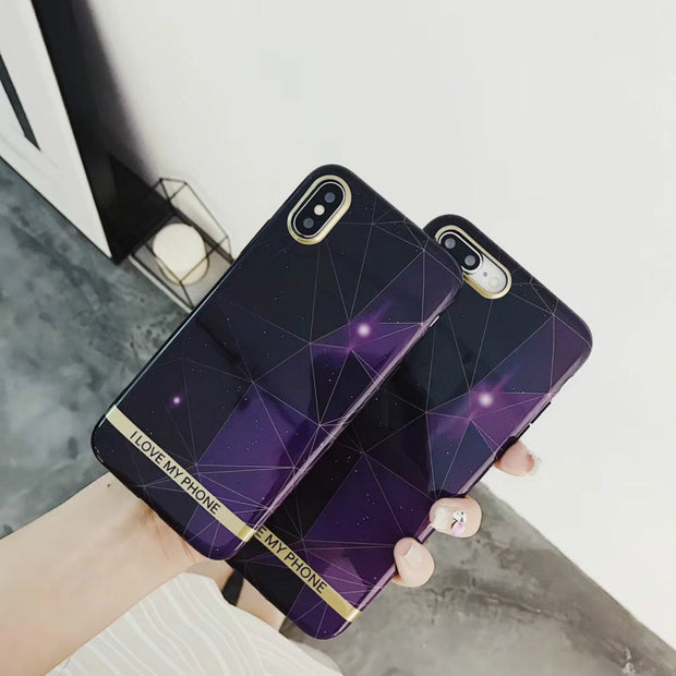 KOMY Purple Gllossy Starry Sky Phone Case For Iphone X 6S 7 8 Plus Ultra Thin TPU Soft Cover Funny Gold Bar Letter Print Shell