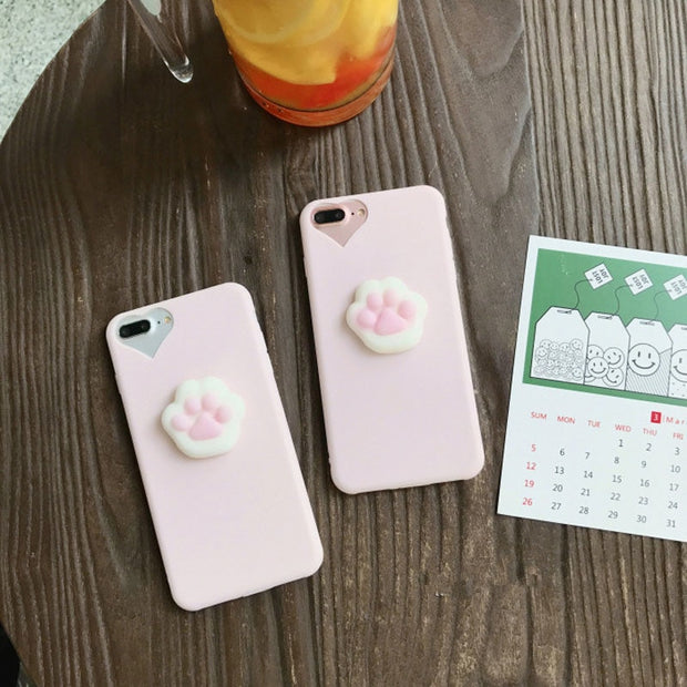Kawaii Girl Style Lovely Pink 3D Cat Claw Phone Cases For Iphone 6 6s 7 7 8 Plus Cartoon Soft TPU Heart Camera Window Back Cover