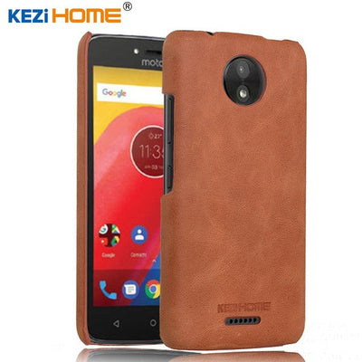 Kezihome For MOTO C Case Fashion Genuine Leather Back Shell Cover Case For Motorola Moto C Phone Case