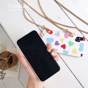 Korea Fashion Love Heart Soft TPU Phone Case For Iphone X 6S S Plus 7 7plus 8 8plus 10 With Metal Chain Straps Free Shipping