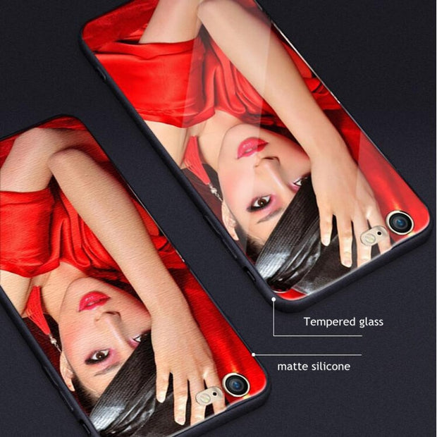 LANCHE For IPhone 7 6 6s 8 Plus X Case DIY Photo Customize Tempered Glass Phone Cover For Samsung Galaxy S8 S8 Plus Note 8 Case