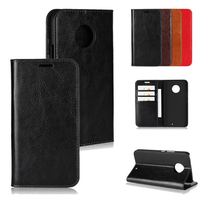 LUCKBUY Top Quality Classic Business Genuine Leather Flip Cover For Motorola Moto G6 G5S G5 E5 Plus Case For Moto X4 Book Cases