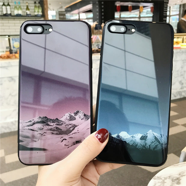 LUXURY Phone Bag FOR APPLE IPHONE 7 8 PLUS X 6S 6 PLUS SNOW MOUNTAIN LANDSCAPE PAINTING TEMPERED GLASS Cover Cases FUNDAS COQUE