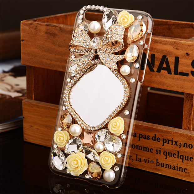 LaMaDiaa Luxury Bling Crystal Diamond 3D Mirror Bowknot With Flower Back Cover Case For Iphone X 6 6S 7 8 PLUS X XR Xs Max Case