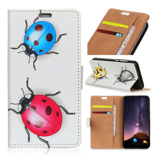 Ladybug Tiger IMD PU Leather Flip Cover Stand Case For Sony Xperia L3 Magnetic Snap Wallet Card Money Slots Case For Sony L3