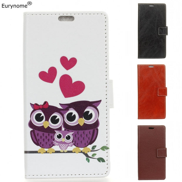 Litchi Pattern Crazy Horse Cartoon Owl Wallet Card With Photo Frame Pu Leather Stand Flip Case Cover For ZTE Grand X4 Grand X 4