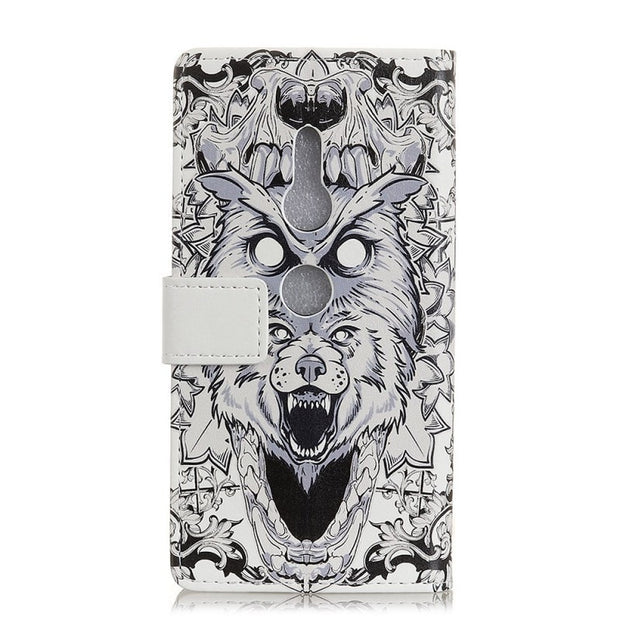 Litchi Pattern Crazy Horse Cartoon Wallet With Photo Frame Pu Leather Stand Flip Case Cover For Sony Xperia XZ2 Compact XZ2 Case