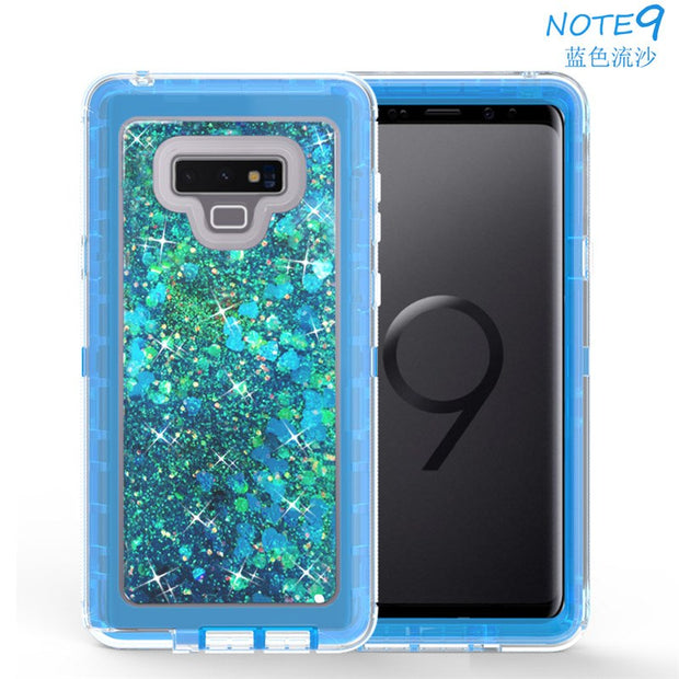 Love Heart Liquid Quicksand TPU Soft Case For Samsung S10 Plus S10lite J3 J7 2018 Note9 Hard PC 360 Degree Full-Body Protective