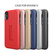 Luggage Box Case For IPhone X TPU+PC 2 In 1 Hybrid Protective Back Cover With Kickstand For IPhone 6 6S 7 8 Plus In Package Box