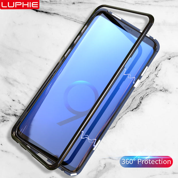 Luphie Magnetic Adsorption Metal Bumper Tempered Glass Back Phone Case For Samsung Galaxy S9 Plus Hard Case For Samsung S8 Plus