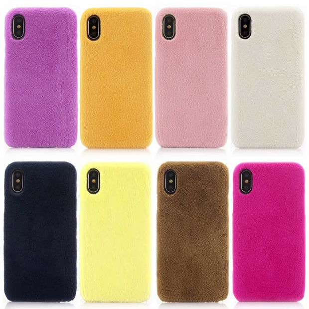 Luxurious Ultra-thin Rabbit Hair Soft Rubber For XR XS XSMAX X 5S 6S 6PLUS 7 7Plus 8 8PLUS +TPU Mobile Phone Shell Rear Cover