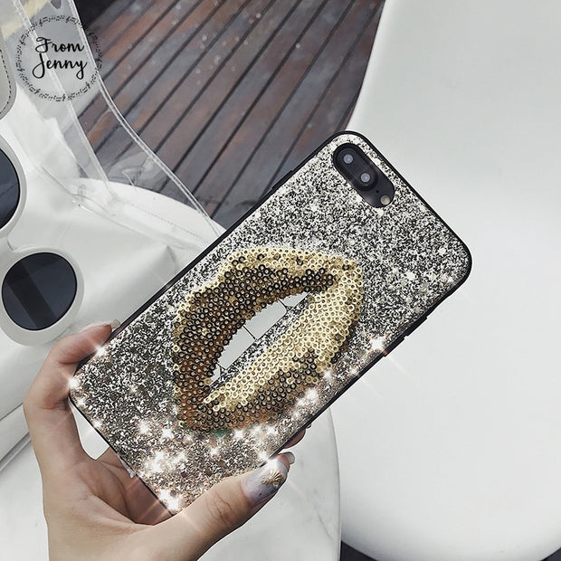Luxury Bling Glitter Star Big Mouth Lips Case For IPhone 8 8Plus X 6 7 Case Valentine's Day Hard Sequins Diamond Case