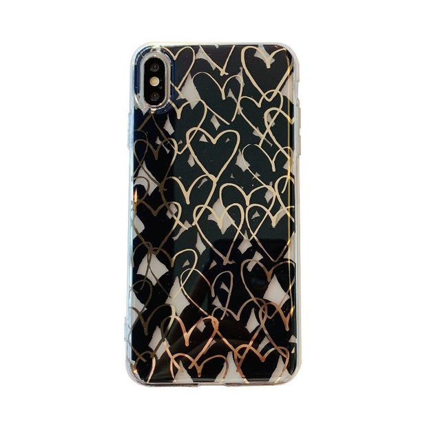 Luxury Case For IPhone XS MAX XR X 8 Plus 6 6S Plus 7 7 Plus Love Heart Rubber Plating TPU Back Case Cover Coque