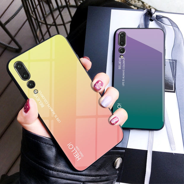 Luxury Colorful Aurora Gradient Tempered Glass Cases For Huawei P20lite Case For Huawei P20 Lite Pro Protective Shell Cover P 20