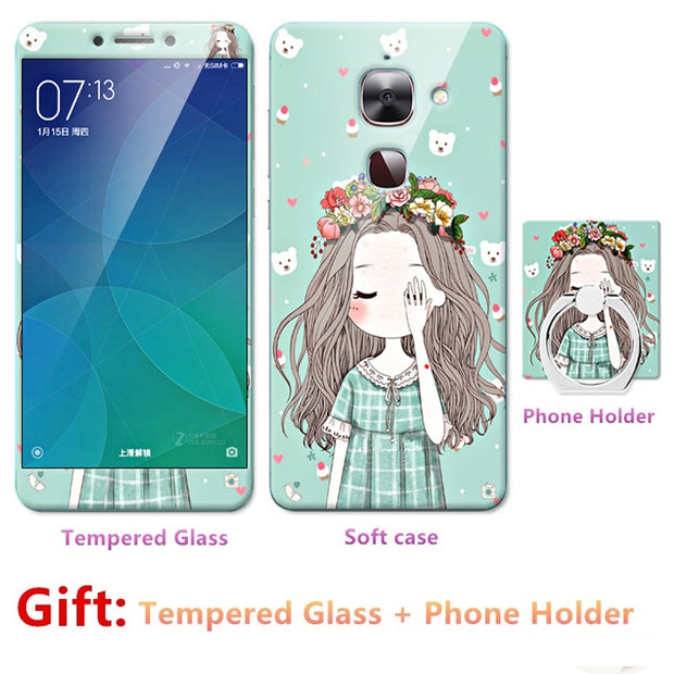 Luxury FOR LeEco Le 2 2pro X620 S3 Bumper Silicone Case=Tempered Glass Film+ Cute Cartoon Plastic Soft Case Cover+phone Holder