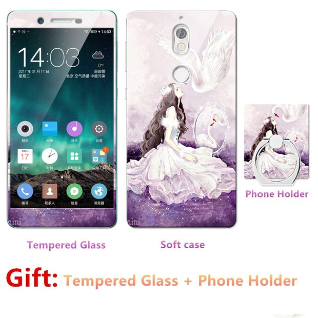 Luxury FOR Nokia 7 Bumper Silicone Case=Tempered Glass Film+ Cute Cartoon Plastic Soft Case Cover+phone Holder