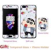 Luxury FOR Oneplus 5 Bumper Silicone Case=Tempered Glass Film+ Cute Cartoon Plastic Soft Case Cover+phone Holder