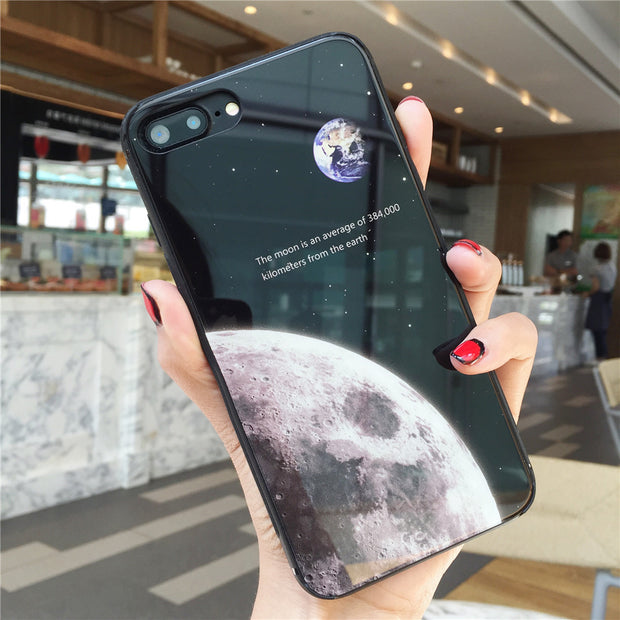 Luxury Fashion Phone Cases For Apple Iphone 7 8 Plus X 6s 6 Plus Moon And Earth Design Tempered Glass Case Covers Fundas Coque