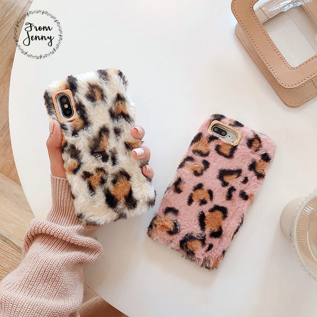 Luxury Fashion Winter Warm Leopard Print For IPhone 8 8 Plus Rabbit Fluffy Fur Soft Phone Case Cover For IPhone X XS Max Case