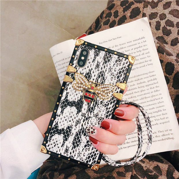 Luxury Fashion Brand Case For Iphone 6 S 7 8 Plus X XR Max XS DIY Bling Glitter Crystal Bee Soft Leather With Strap Phone Cases