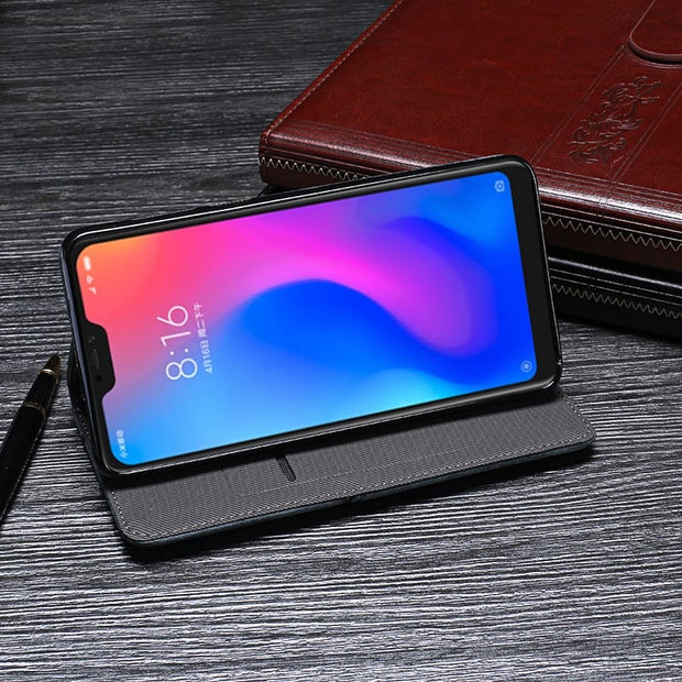 Luxury Flip PU Leather Case Xiaomi Redmi Note 6 Pro Cover Vintage Coque Phone Bags Case Redmi Note 6 Global Version Wallet Cover