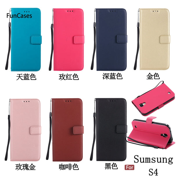 Luxury Flip Phone Case SFor Coque Samsung S4 Card Slot Case Carcasa Transparent Phone Accessory For Samsung Galaxy I9500 Fundas