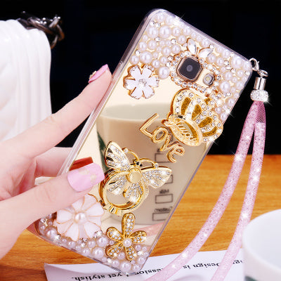 Luxury Girl Woman Lady Handmade Art Diamond Mirror Bling Phone Cover Case For Huawei Honor 7 8 6X 4X V9 5X 4A Gold Silver Pink